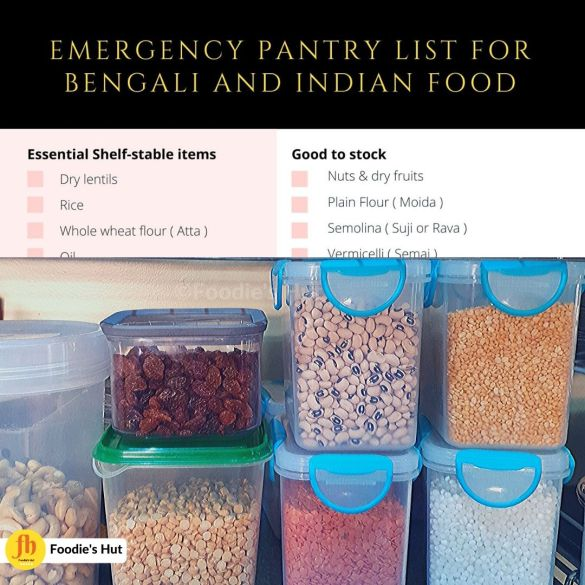 Emergency pantry list for Bengali and Indian Food