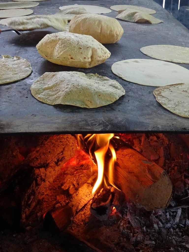 warming up tortillas