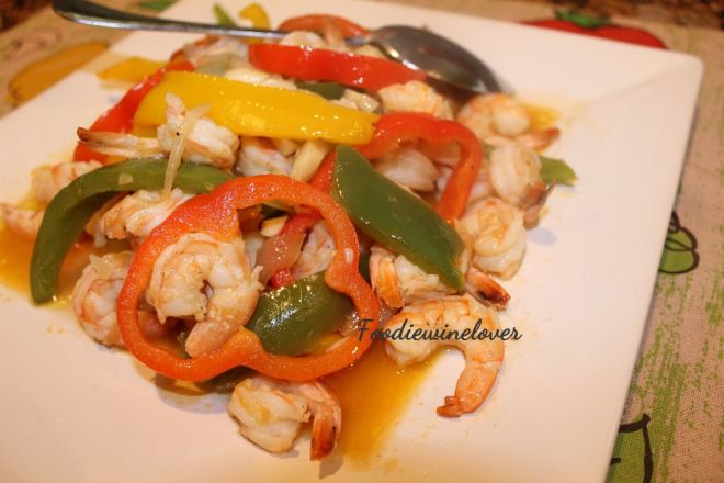 Shrimp in Garlic Sauce, using yellow peppers