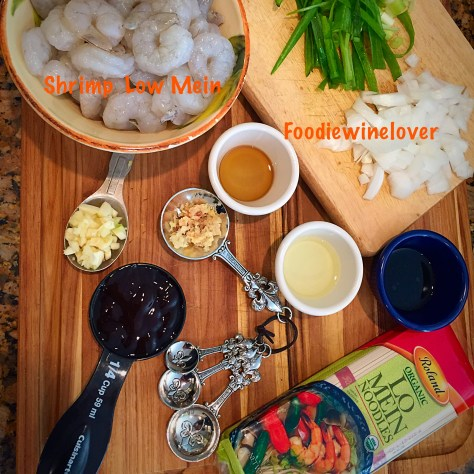 Mise en place for Shrimp Lo Mein