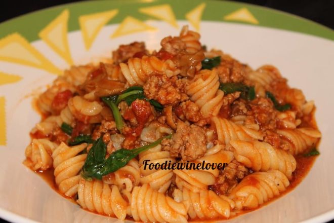 Rustic Style Pasta with Veal, Porcini Mushrooms and Spinach