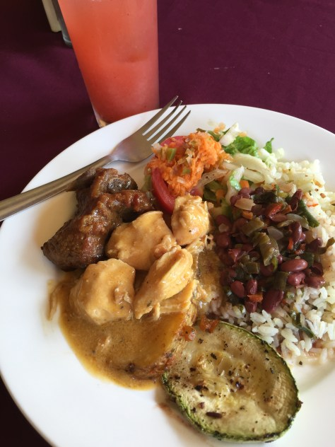 Lunch at Doka Estate - Chicken in curry, beef ribs, rice and red beans sauce, salad, veggies.