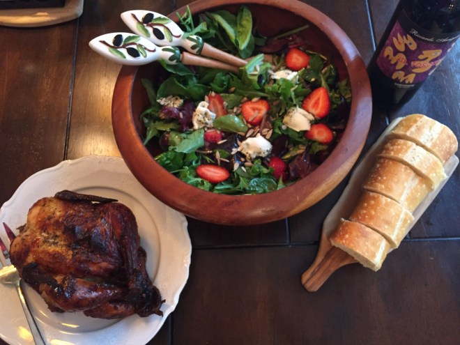 Field Green Salad, Rotisserie Chicken, Sourdough bread