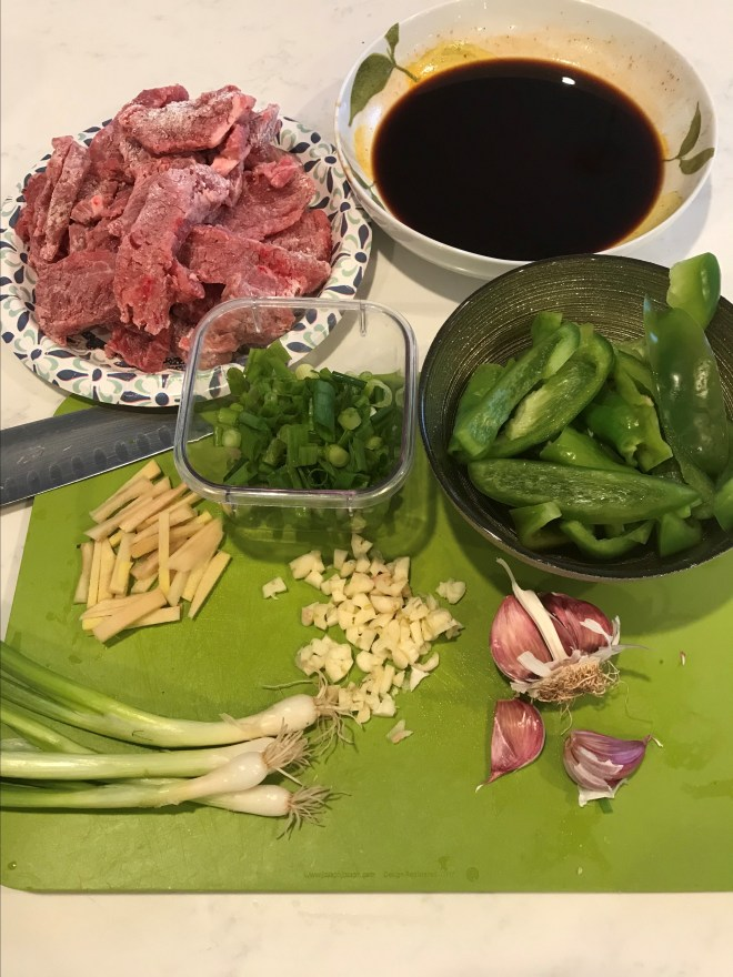 Mise-en-place for Mongolian Beef