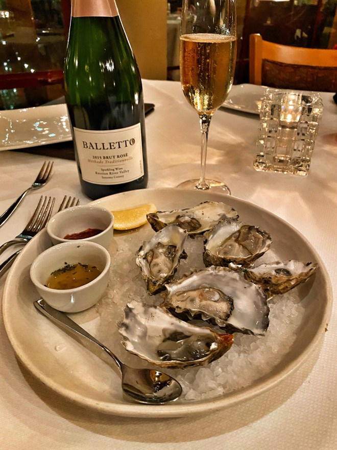 Fresh oysters paired with a 2015 Russian River Valley Brut Rose