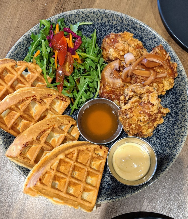 Chicken and waffle brunch