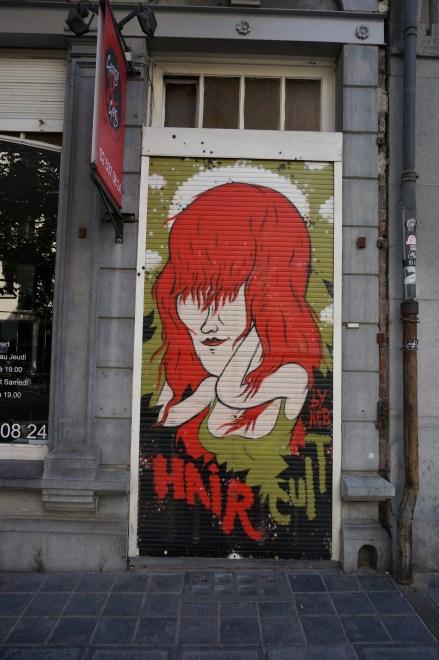 Door of a hair salon, St. Gilles