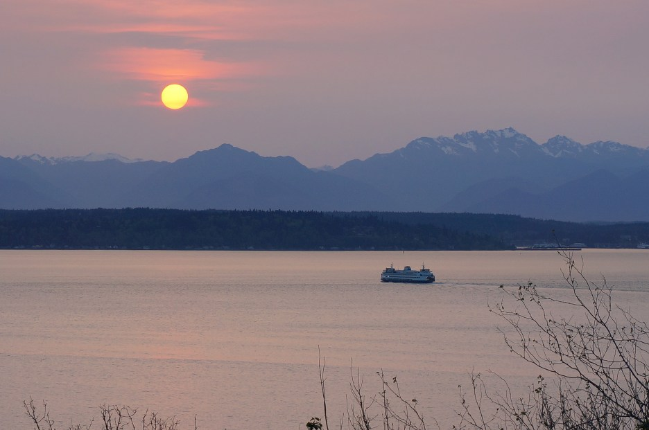 Sun setting over the Olympic Mountains