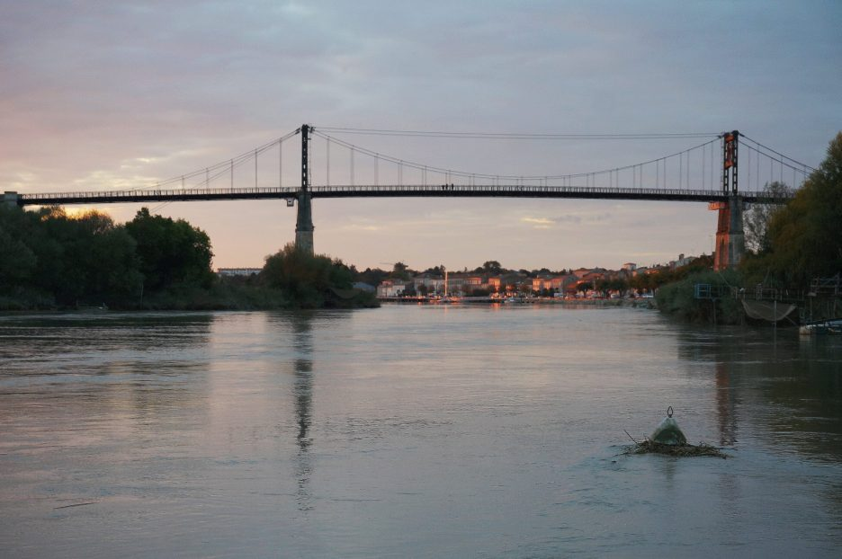 High tide at dusk in Tonnay-Charente