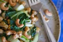 Bok Choy with Chick Peas and Cashews