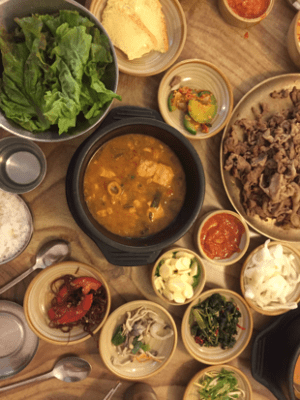 Korean meals have a lot of banchan, small dishes, that scientists and policy-makers believe contributes to the high amount of food waste. The dish above is bulgogi.