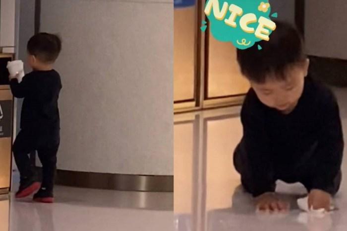 蔡少芬教兒子丟垃圾,小傢伙跪地擦地板超可愛