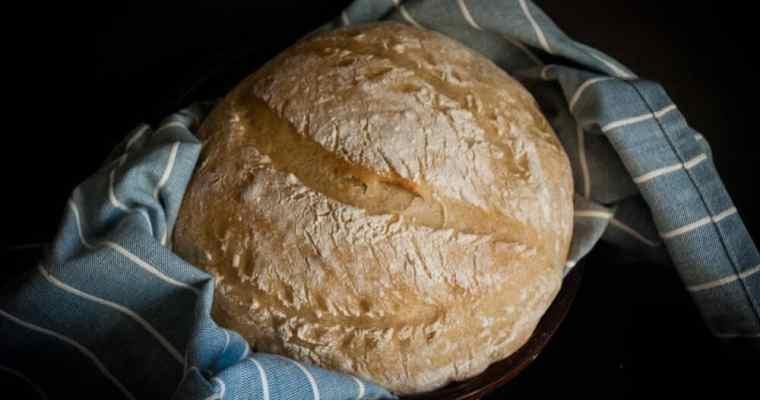 Easy recipe for no knead sourdough bread