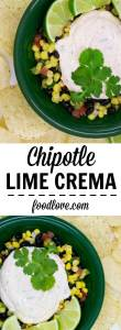 Chipotle lime crema adds creamy, spicy, citrusy goodness to tacos, burritos, enchiladas, salads and all kinds of Mexican or Southwest recipes.