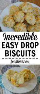 These ultra easy drop biscuits are crisp on the outside, tender and flaky on the inside. Made with simple pantry ingredients in less than 20 minutes!