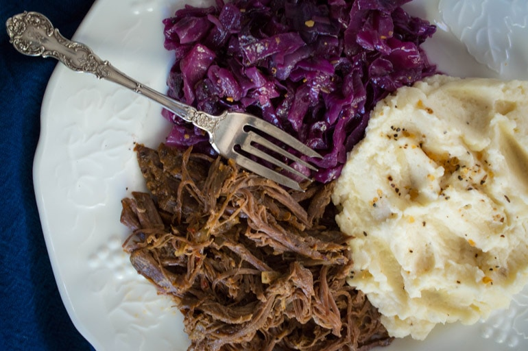 Juicy, perfect pot roast is a no brainer with seasoned tri-tip from Costco.