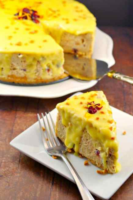 Cranberry Bread Pudding Holiday Cheesecake Recipe | #cheesecake #holiday #bread pudding