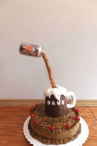 Gravity defying root beer cake