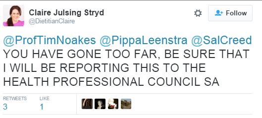Tim Noakes Tweet Strydom