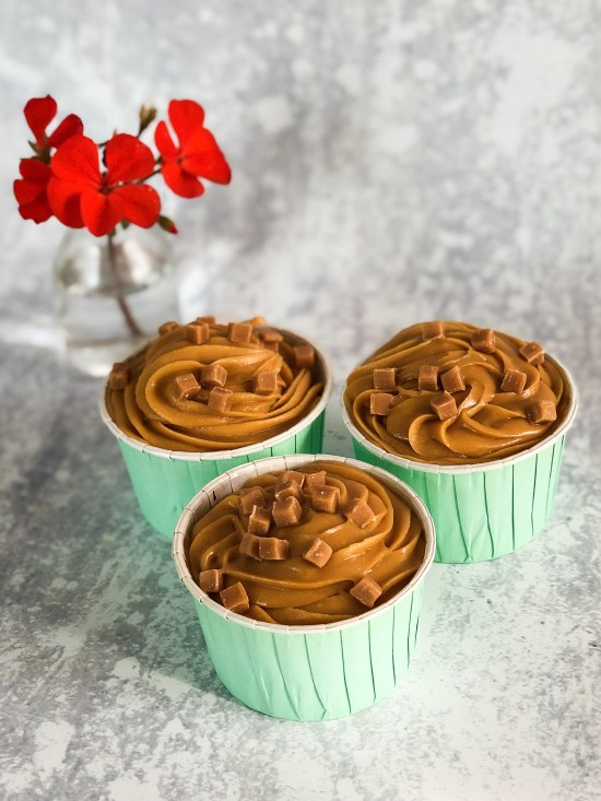Trio of Sticky Toffee Cupcakes with Red Flower