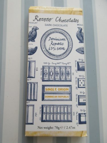 Rococo Dominican Republic 63% Wrapped Chocolate Bar - www.foodnerd4life.com