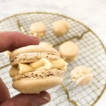 Close Up of Salted Caramel Macarons