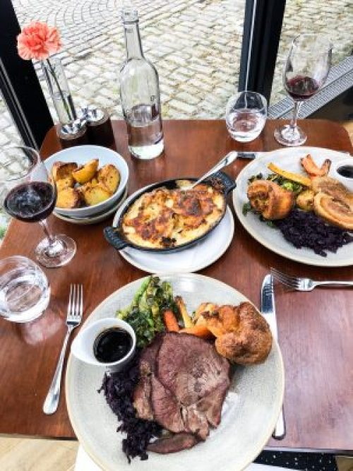 Table Overview of Beef and Pork Sunday Roast at River Grille, The Bristol Hotel