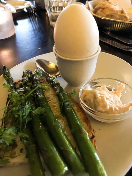 Soft Boiled Goosnargh Duck Egg, Asparagus Soldiers and Brown Crab Mayonnaise at Hotel du Vin, Bristol