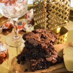 Chocolate Orange Brownies on Golden Platter