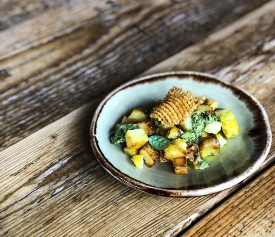 Potato, Truffle Yoghurt, Salsa Verde and Crisps at Ethicurean, Bristol - great food - www.foodnerd4life.com