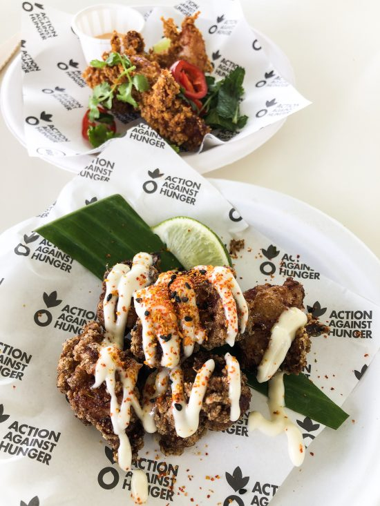 Action Against Hunger - Chicken Karaage with Yuzu Chilli Mayonnaise by Tim Anderson from Nanban and Nacho Fried Chicken Tenders with a Valentinas Sour Cream Dip by Neil Rankin from Temper - Taste of Lond 2019 - www.foodnerd4life.com