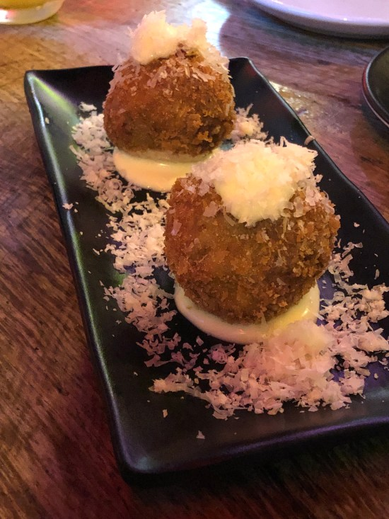 Chicken Katsu Curry Arancini, Aged Parmesan and Kewpie Mayo at Seven Lucky Gods Bristol www.foodnerd4life.com
