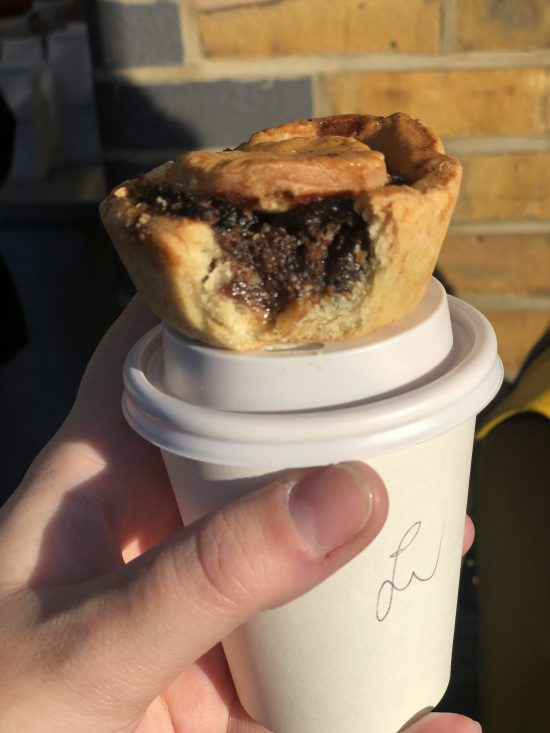 Little Bread Pedlar Mince Pie on Cup of Coffee