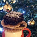 Stroopwafel Brownies on a Pllate infront of Christmas Tree - www.foodnerd4life.com