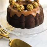 Nutella and Chocolate Bundt Cake on Cake Stand