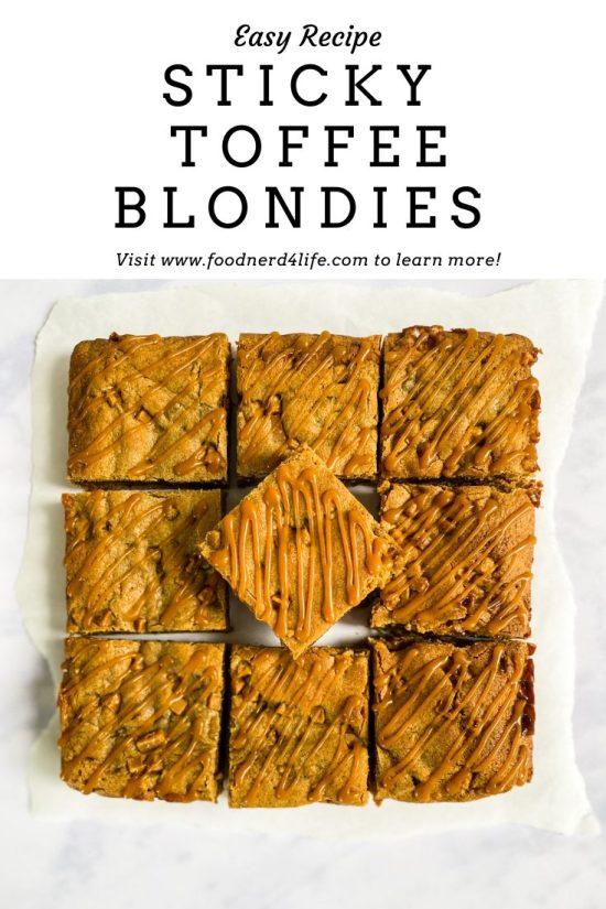 Sticky Toffee Blondies Recipe Pin