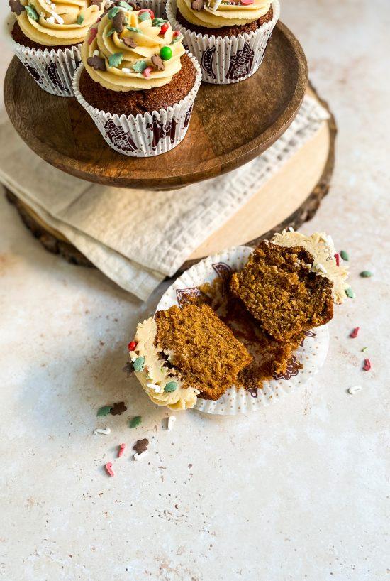 Inside of Gingerbread Cupcake Recipe - www.foodnerd4life.com