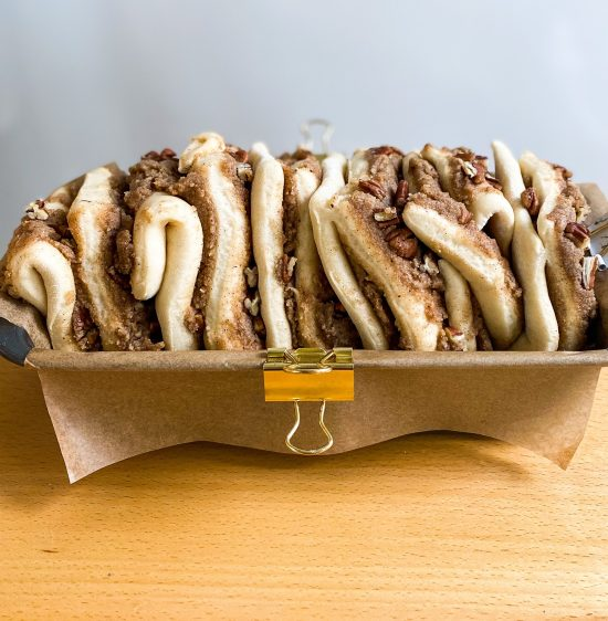 Pecan Pie Pull Apart Bread Unbaked in Loaf Tin - www.foodnerd4life.com