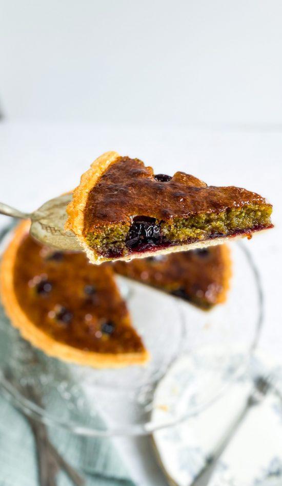 Pistachio and Cherry Frangipane Tart Recipe - www.foodnerd4life.com