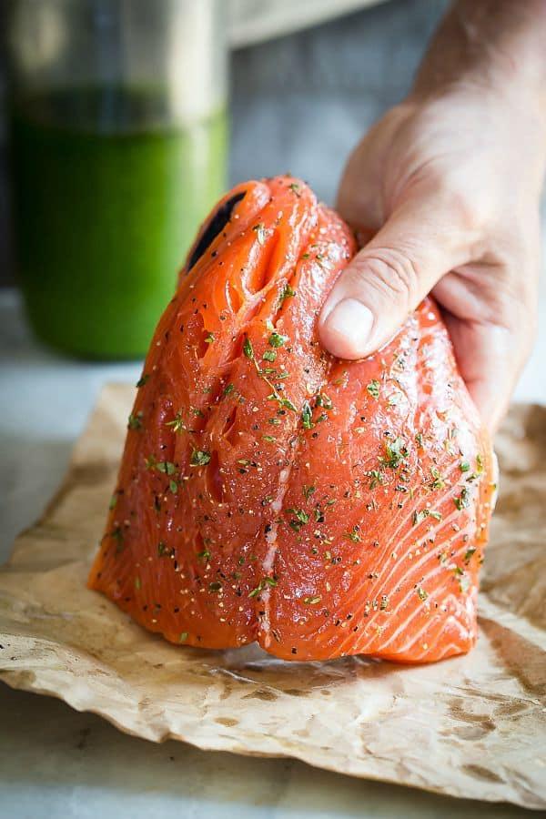 Freshly seasoned Coho salmon