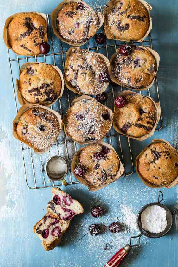 Fresh baked cherry muffins with chocolate chunks