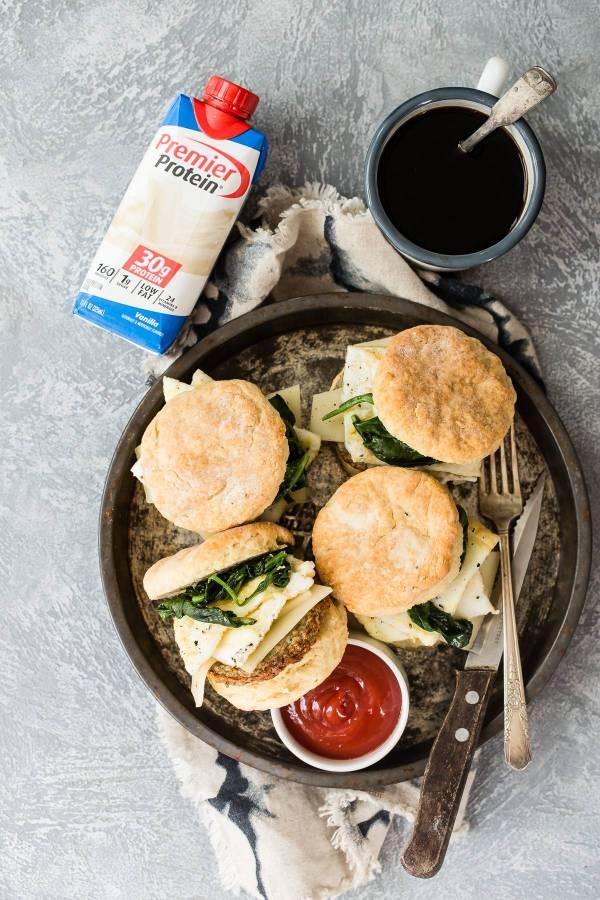 Egg white breakfast biscuit sandwich