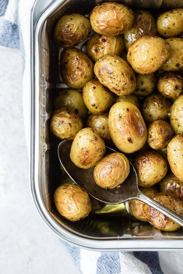 grilled potatoes in a tray