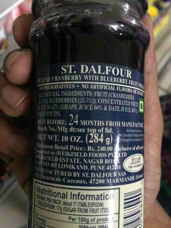 St Dalfour Cranberry Blueberry Jam Foodnetindia The