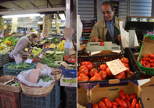 """At the Testaccio market: A woman carefully selecting her vegetables and a merchant known as the """"Tomato Philosopher"""" for his vast knowledge about tomatoes"""