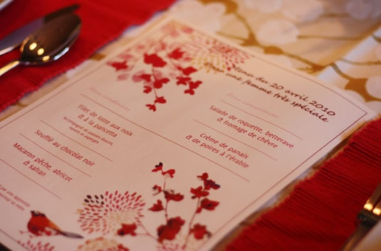 The menu I printed for my Mom's dinner party last April