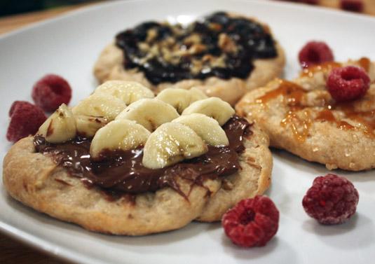 Front: Nutella and banana; back: dark chocolate, cocoa nibs and chopped walnuts.
