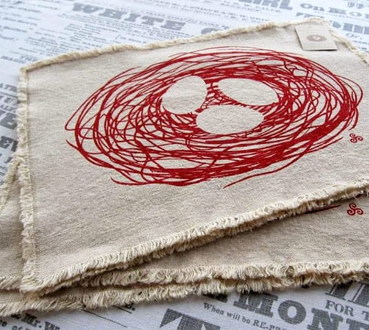 Set of 2 Red Nest Hemp Placemats (by Willywaw)