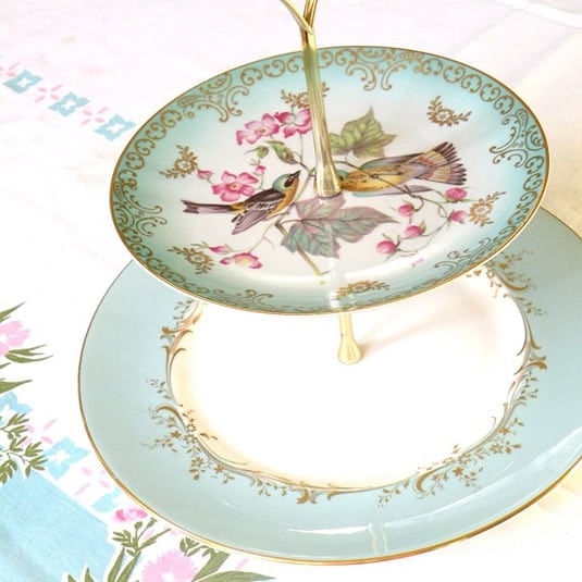 Vintage Two-Tiered Royal Coulton Stand in Tiffany Blue