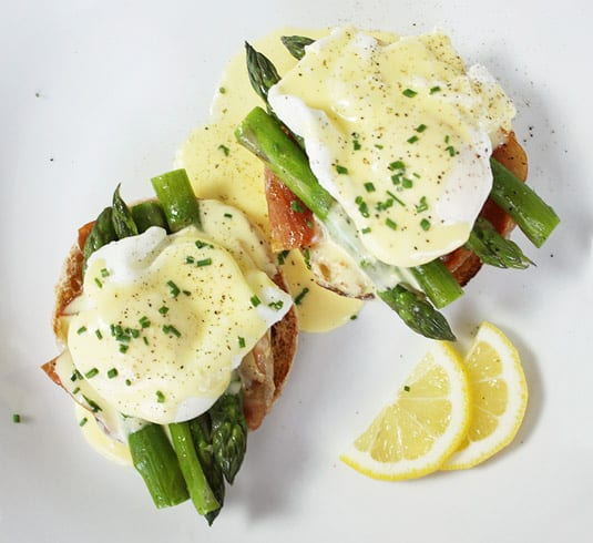 Eggs Benedict with Steamed Asparagus and Crispy Prosciutto